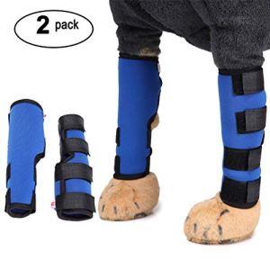 SELMAI Canine Dog Leg Brace Extra offrant Un Bon Maintien Hock Joint Wrap pour Hind Jambes ACL Contribué à la stabilité et de soigner Les blessures et Les entorses Bleu S
