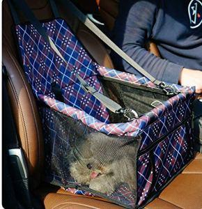 SWIHEL Sac de Transport Chien et Chat avec Rehausseur, Ceinture de Siège de Voiture de Sac de Voiture d'animal Familier Respirant pour l'animal Chat de Chien.[ la Grille ]