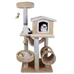 ZHANGM Cat Tree Pet Deluxe Grande Tour d'activité condo et sisal Couverts gratter poteaux hamac perches Plate-Forme,F