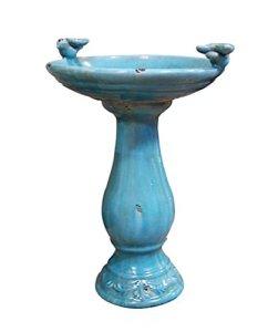 Alpine Corporation Antique Oiseaux en céramique Oiseaux, 61cm, Turquoise