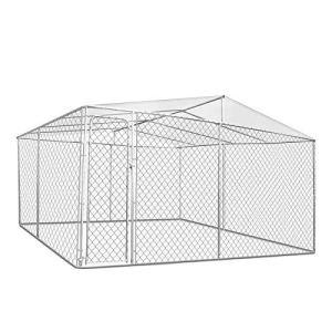 IDMarket – Chenil grillagé 4×4 m avec Toit pour Chiens 16 m²