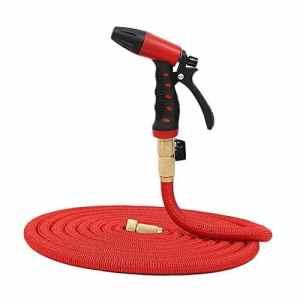 Pistolet à eau de jardin Couleur rouge expansible tuyau de jardin lavage de voiture buse de pulvérisation de gazon tuyau d'arrosage flexible tuyau d'eau flexible avec raccords multi-fonction buse de p