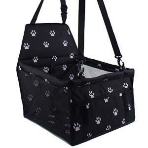 Siège d'auto pour chien, porte-siège pliant et étanche pour chien avec ceinture de sécurité et sac de rangement pour chiens et chats (blanc / noir)