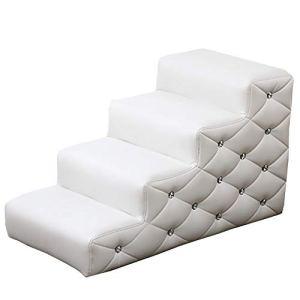 WSWJJXB Marche d'escalier pour Grand Chien Échelle de lit en éponge à Haute densité, Blanc (Taille : 4 Steps)