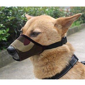Kingnew Chapeau de Taupe réglable Chien Bouche Protection Anti-aboiement Chien Masque en Mesh 22 cm