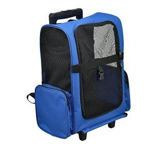 [pro.tec]® Sac de Transport à Roulette bleu sac de transport sac à dos chien chat