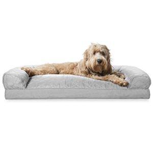 Furhaven Nap Deluxe Fibre Taie d'oreiller en peluche Canapé pour chien Canapé, disponible en peluche et en suède ou matelassé