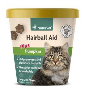 NaturVet Hairball Aid Supplement Cat Soft Chewable Cup Plus Pumpkin Flavor 100ct