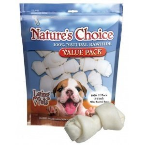 Loving Pets Nature's Choice 100-Percent Natural Rawhide White Knotted Bones Value Pack Dog Treat, 3-4-Inches, 12/Pack by Loving Pets (English Manual)