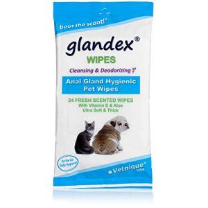 Glandex Lingettes pour animaux de compagnie pour nettoyer et désodoriser la glande anale – 24 lingettes fraîches