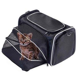 Petcomer Sac Extensible de Transport pour Chiens Chats Animal de Compagnie Transporteur Pliable Confortable Solide pour Voyage (S, Noir)