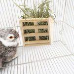 DeoMeat Hay Manger Rack Cobayes Hay Feeder Rack Lapin Mess Libre Alfalfa Distributeur pour Les Petits Animaux Couleur Bois