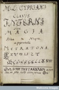 Title page in Latin from Cyprianus, 18th century manual of black magic. The title reads: ... key of hell or white and black magic, approved by Metratron.