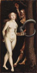 Eve, the Serpent, and Death. Hans Baldung Grien. Death with serpent entwined around Tree, seduce Eve.