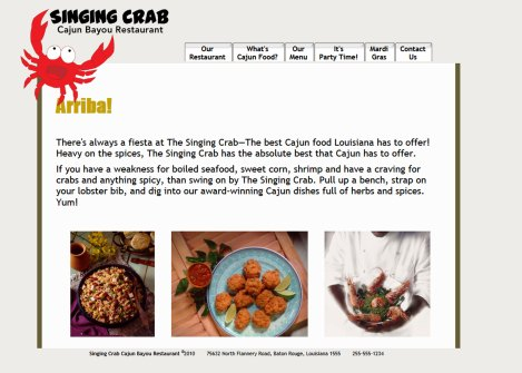 Singing Crab Restaurant Redesign | westchester ny web design
