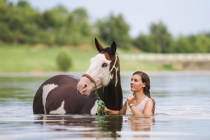 cheval et cavalière dans un lac