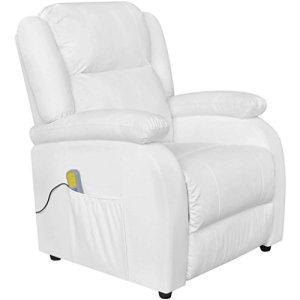 tidyard Fauteuil de Massage Electrique (Dossier et Repose-Pieds réglables) en Cuir Synthétique Blanc