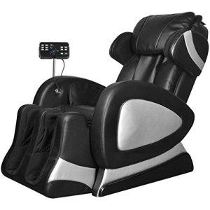 Tidyard Fauteuil de Massage Electrique en Cuir Artificiel – Repose-Pied et Dossier Réglables – Massage de Pétrissage – Doux et Confortable – Noir