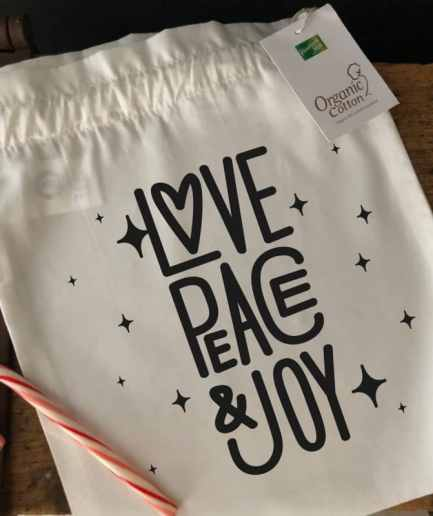 pochon de noël love peace joy