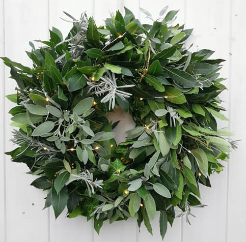 foliage herb wreath with lights