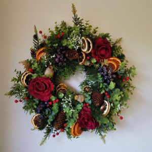 christmas wreath, berries, dried fruit, pine cones faux artificial