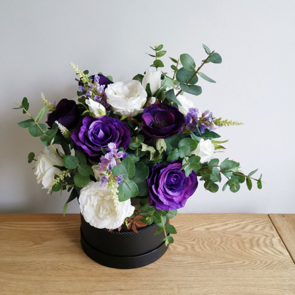 Purple Ivory Silk Flowers with Greenery