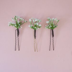 faux Gypsophila hair pins