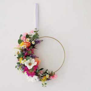 spring summer colourful floral hoop wreath