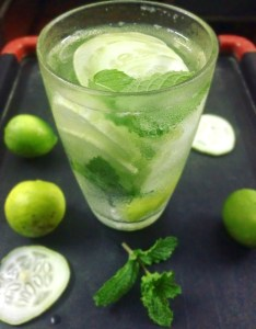 Cucumber lemon mint water recipe