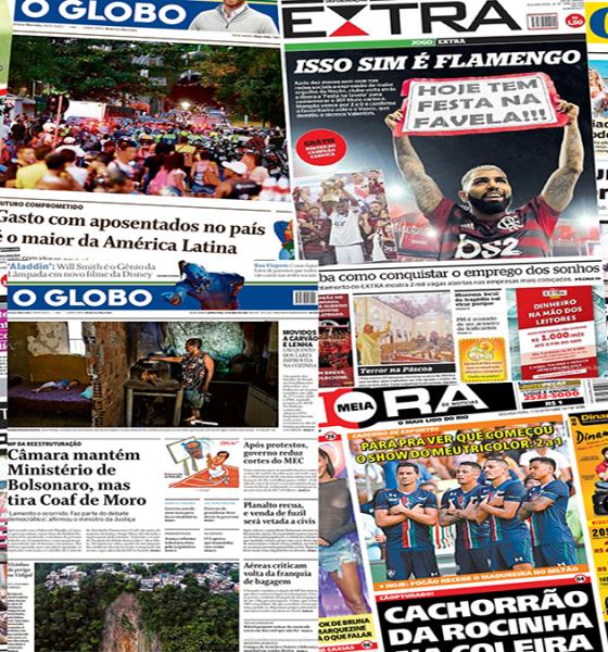 Colagem de jornais impressos lidos na análise