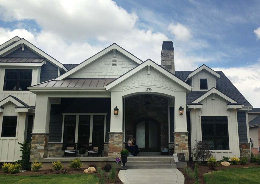 Home tour 2 and paint colors utah valley parade of homes for Gray exterior paint colors