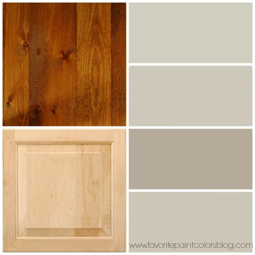 greige paint colors to go with wood trim and cabinets