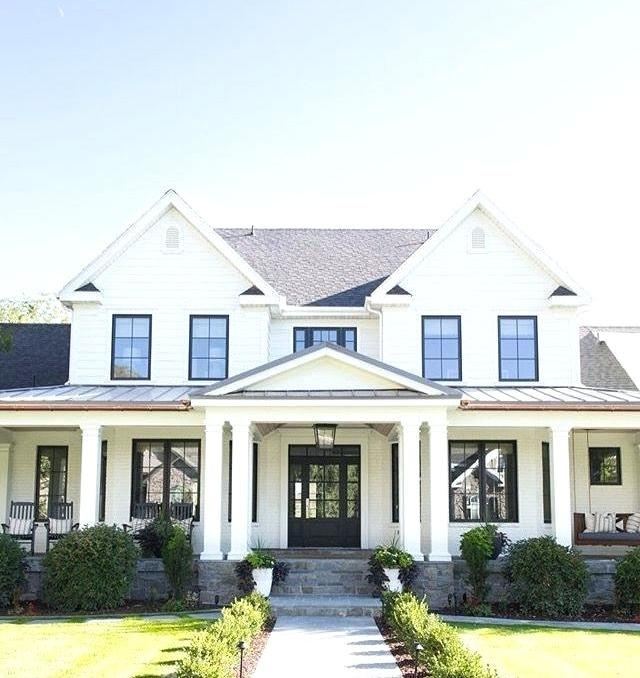 white farmhouse with black windows farmhouse exterior
