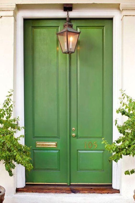 green front exterior door