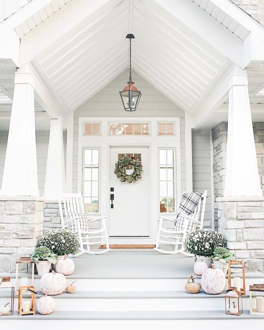 Farmhouse fall front porch