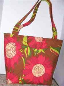 Red Sunflower fabric tote