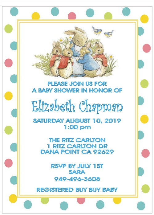 Personalized Peter Rabbit Baby Shower Invitation 3 Colors Designs