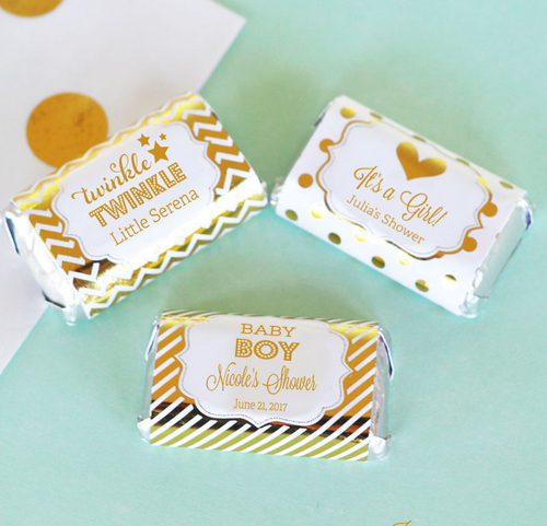 Personalized Metallic Foil Mini Baby Candy Bar Wrappers In Gold Rose Gold Or Silver