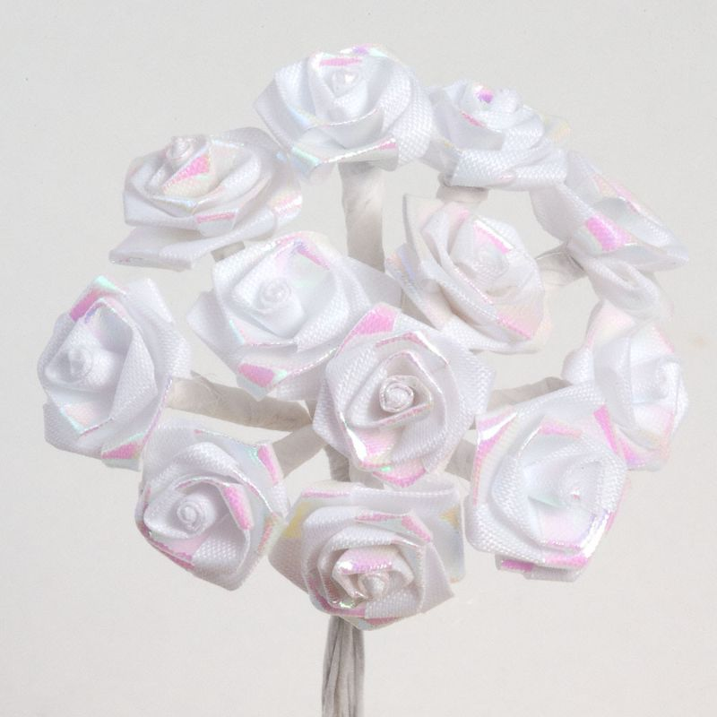 Lovely Fuchsia Pink Rose Embellishments! Satin Ribbon Roses With Leaves 100