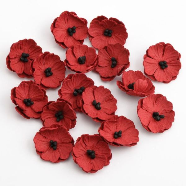 16 Paper Poppy Flowers Red