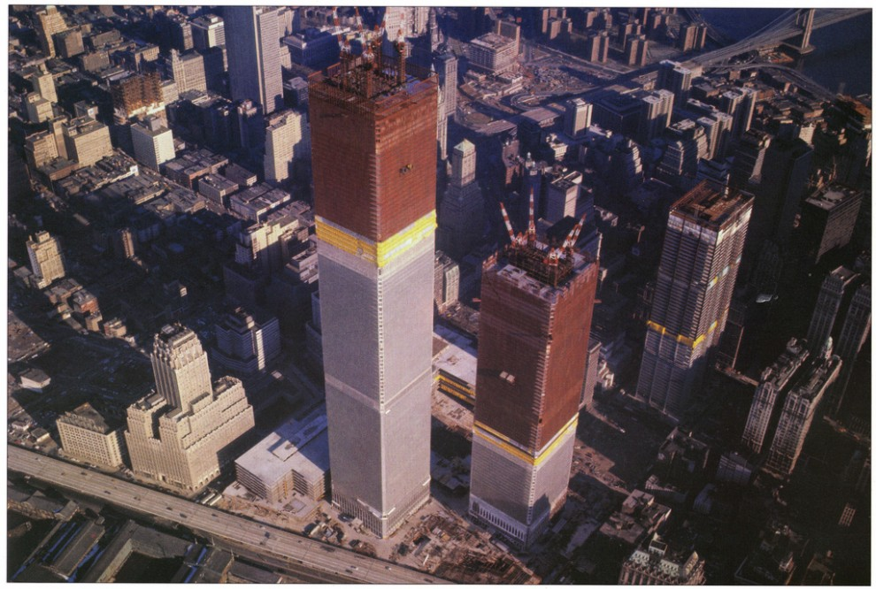 Aerial view of the Twin Towers on the day after the North Tower's topping-out ceremony. Christmas 1970.