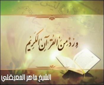فوائد تي في ورد من القرآن الكريم ماهر المعيقلي