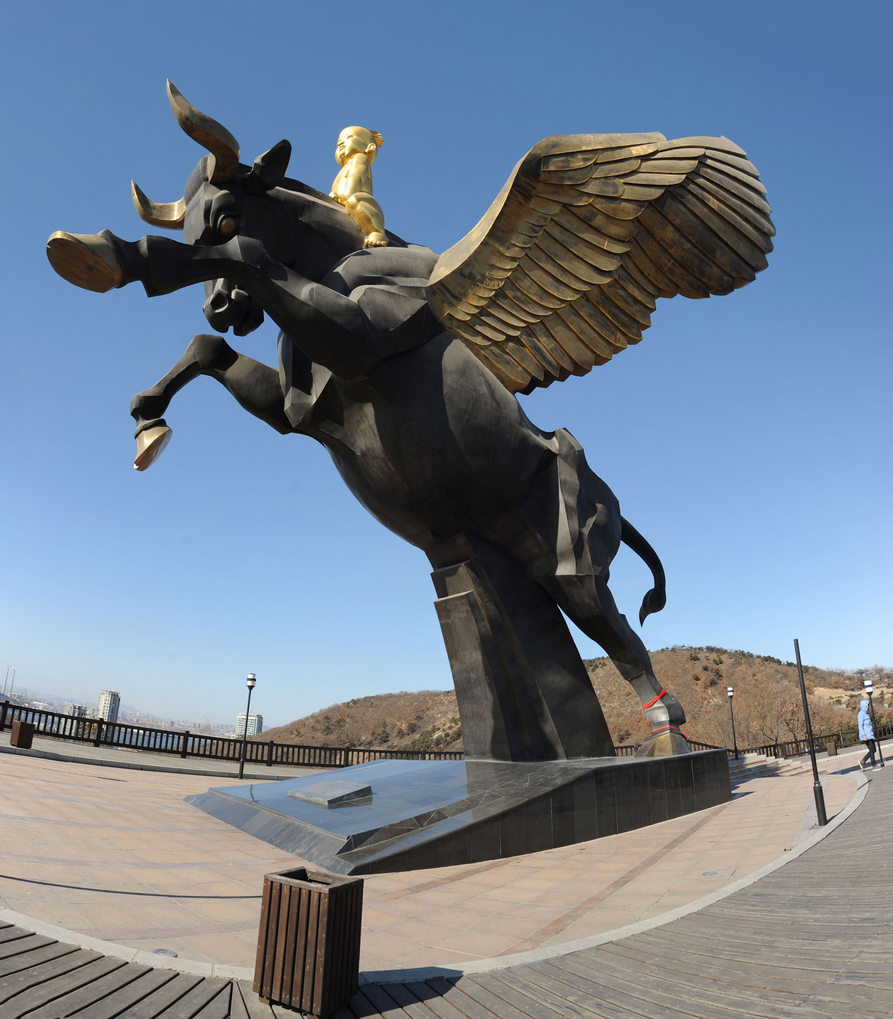 The winged bull of nimrod and part of the temple of baal are being a winged bull is the symbol of dalian city china biocorpaavc