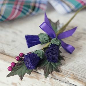 tartan fabric and ribbons