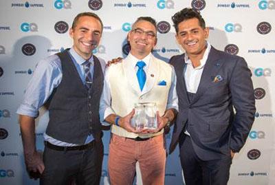 From left: Nathan Gerdes (2012 National Winner), Julio Cabrera, Raj Nagra (Bombay Sapphire Global Brand Ambassador)