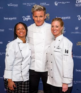 Chef Gordon Ramsay with HELL'S KITCHEN season 15 finalists, Ariel Malone and Kristin Barone, who were at the BLT Steak booth. Credit Erik Kabik