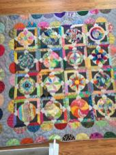 This was hand pieced and hand quilted using the Circle Game pattern by Jen Kingwell. It was begun at a workshop hosted by Red Thread Studio.