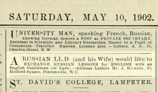 Jacob Richter, aka Vladimir Lenin. (May 10, 1902). Advertising for English-Russian instruction. The Athenaeum.