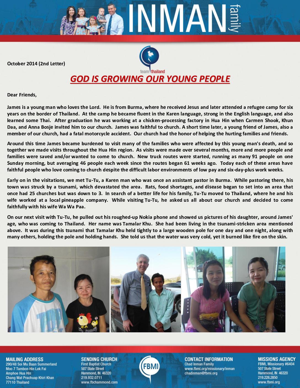 thumbnail of Chad Inman October 2014 Prayer Letter – 2