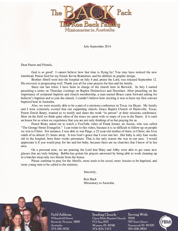 thumbnail of Ron Back Jul-Sep 2014 Prayer Letter